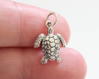 Sterling Silver Tiny Sea Turtle Charm, Sea Turtle Pendant, Sea Turtle Charm, Turtle Charm, Ocean Turtle Charm, Turtle Pendant, Sea Turtle