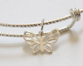 Sterling Silver Bracelet with Sterling Silver Butterfly Charm, Bracelet with Silver Butterfly Pendant, Butterfly Charm Bracelet, Butterfly