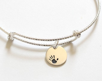Sterling Silver Bracelet with Sterling Silver Handprint Charm, Bracelet with Silver Handprint Pendant, Handprint Charm Bracelet, Handprint