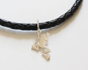 Leather Bracelet with Sterling Silver Frog Charm, Bracelet with Silver Frog Pendant, Frog Charm Bracelet, Silver Frog Charm Bracelet
