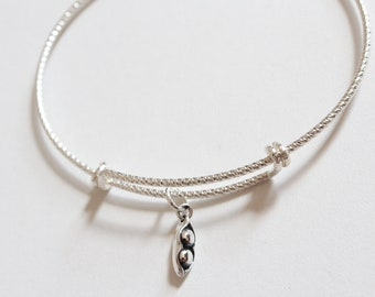 Sterling Silver Bracelet with Sterling Silver Two Peas in a Pod Charm, Two Peas in a Pod Charm Bracelet, Pea Pod Bracelet, Pea Pod Charm