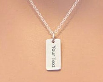Sterling Silver Customizable Necklace, Sterling Silver Engraved Necklace, Custom Sterling Silver Necklace, Engraved Necklace, Your Text Here