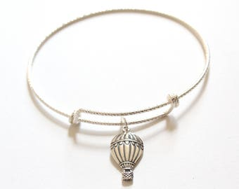 Sterling Silver Bracelet with Sterling Silver Hot Air Balloon Charm, Hot Air Balloon Charm Bracelet, Hot Air Balloon Bracelet, Bracelet