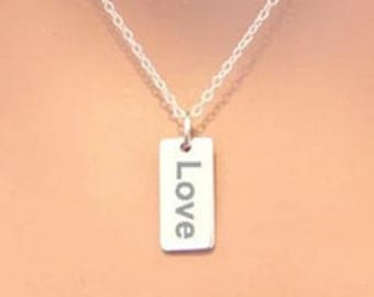 Sterling Silver Love Word Charm Necklace, Love Charm Necklace, Love Charm, Engraved Love Necklace, Love Pendant Necklace, Engraved Love