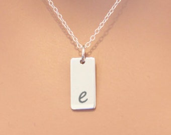 Lowercase Initial E Bar Necklace, Sterling Silver Small Letter E Charm Necklace, Engraved Initial E Pendant Necklace, Personalized Initial