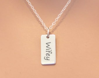 Novelty gift for wife or bride Christmas gift exchange for wife. Funny holiday gift Vintage Silver Morse Code Necklace Wifey necklace