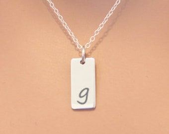 Lowercase Initial G Bar Necklace, Sterling Silver Small Letter G Charm Necklace, Engraved Initial G Pendant Necklace, Personalized Initial
