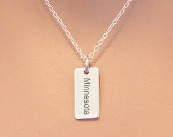 Sterling Silver Minnesota Charm Necklace, Choose Your Font, Custom Minnesota Necklace, Minnesota Pendant Necklace, Minnesota State Necklace