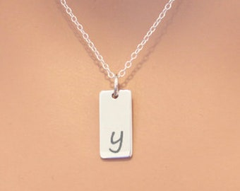 Lowercase Initial Y Bar Necklace, Sterling Silver Small Letter Y Charm Necklace, Engraved Initial Y Pendant Necklace, Personalized Initial