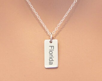 Sterling Silver Florida Charm Necklace, Choose Your Font, Custom Florida Necklace, Florida Pendant Necklace, Florida State Necklace