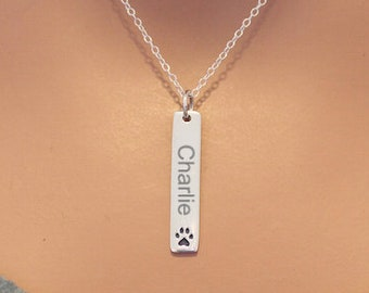 Pet Memorial Charm Necklace, Pet Memorial Necklace with Paw Print, Pet Memorial Paw Print Name Necklace, Dog Name Necklace, Cat Name Charm