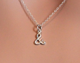 """Sterling Silver & Charm Necklace, Ampersand Charm Necklace, """"And"""" Charm Necklace, """"And"""" Necklace, Ampersand Necklace, Silver """"and"""" Necklace"""