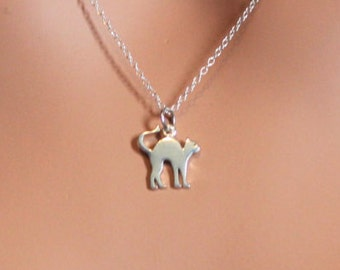 Sterling Silver Cat Charm Necklace, Silver Cat Necklace, Cat Necklace, Cat Lover Necklace, Halloween Cat Charm Necklace, Cat Cutout Charm