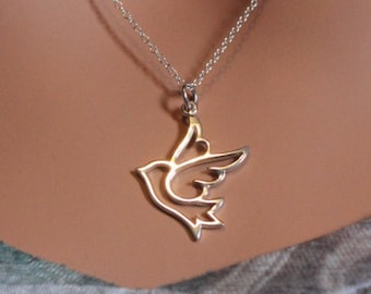 Sterling Silver Dove Necklace, Dove Necklace, Dove Cutout Necklace, Dove Pendant Necklace, Dove Charm Necklace, Bird Necklace, Bird Charm