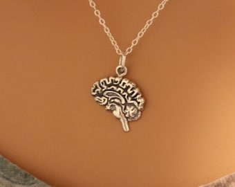 Sterling Silver Brain Charm Necklace, Realistic Brain Pendant Necklace, Brain Necklace, Brain Charm Necklace, Brain Pendant Necklace