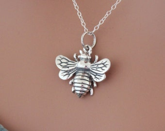 Sterling Silver Bumble Bee Pendant Necklace, Honeybee Pendant Necklace, Bee Necklace, Realistic Bee Charm Necklace, Bee Necklace