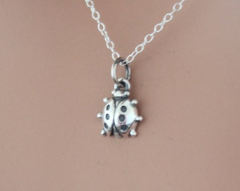 Sterling Silver Ladybug Charm Necklace, Small Ladybug Necklace, Realistic Ladybug Charm Necklace, Tiny Lady Bug Charm Necklace