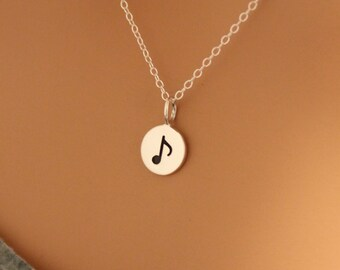 Sterling Silver Music Note Charm Necklace, Music Note Necklace, Silver Musical Note Charm Necklace, Tiny Music Note Necklace