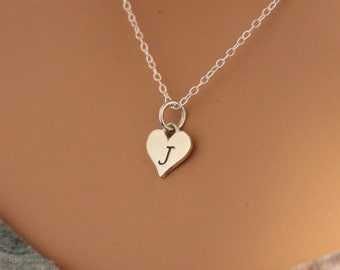 Sterling Silver J Letter Heart Necklace, Silver Tiny Stamped J Initial Heart Necklace, Stamped J Letter Charm Necklace, J Initial Necklace