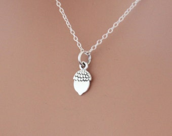 Sterling Silver Acorn Charm Necklace, Acorn Necklace, Small Acorn Charm Necklace, Tiny Acorn Necklace, Tiny Acorn Charm Necklace