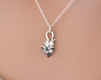 Sterling Silver Mouse Charm Necklace, Tiny Mouse Necklace, Mouse Necklace, Little Mouse Necklace, Small Mouse Charm Necklace, Tiny Mouse