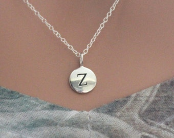 Sterling Silver Simple Z Initial Necklace, Silver Stamped Z Necklace, Stamped Z Initial Necklace, Small Z Initial Necklace, Z Initial Charm