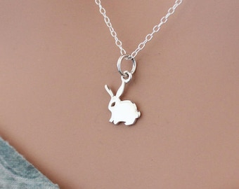 Sterling Silver Bunny Charm Necklace, Silver Bunny Rabbit Necklace, Bunny Necklace, Sterling Silver Bunny Lover Necklace, Rabbit Necklace