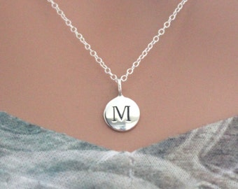 Sterling Silver Simple M Initial Necklace, Silver Stamped M Necklace, Stamped M Initial Necklace, Small M Initial Necklace, M Initial Charm