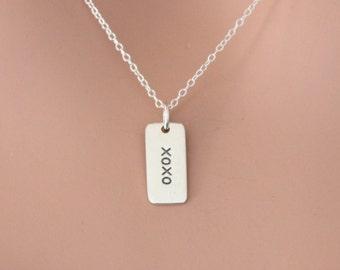 Sterling Silver XOXO Charm Necklace, XOXO Love Necklace, Hugs and Kisses Necklace, Silver Hugs and Kisses Charm Necklace, XOXO Necklace