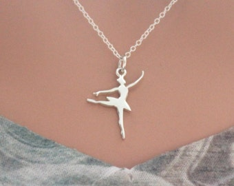 Sterling Silver Ballerina Jewelry Charm Necklace, Ballet Necklace, Silver Ballerina Necklace, Ballerina Fitness Necklace, Ballet Charm