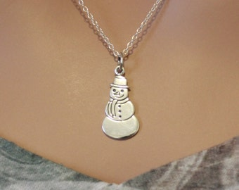 Sterling Silver Snowman Necklace, Snowman Charm Necklace, Snowman Necklace, Winter Snowman Necklace, Jack Frost Necklace, Jack Frost Charm