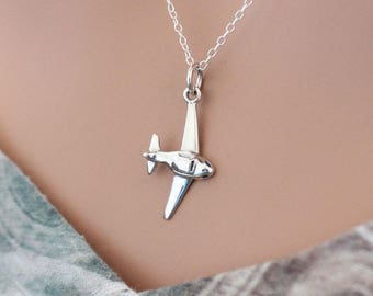 Sterling Silver Airplane Necklace, Silver Airplane Charm Necklace, Airplane Necklace, Gift for Pilot, Airline Pilot Necklace, Pilot Necklace