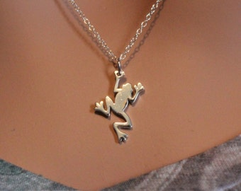 Sterling Silver Frog Necklace, Frog Pendant Necklace, Sterling Silver Tree Frog Charm Necklace, Amphibian Frog Necklace, Frog Jewelry
