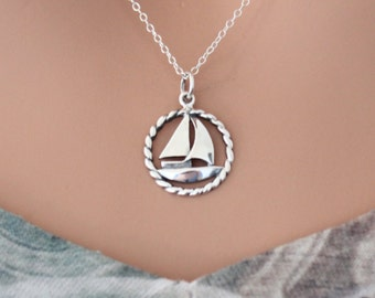 Sterling Silver Sailboat Charm Necklace, Sailboat Necklace, Silver Sailboat Necklace, Sailor Necklace, Navy Military Necklace, Navy Necklace
