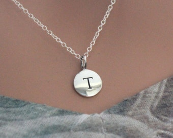 Sterling Silver Simple T Initial Necklace, Silver Stamped T Necklace, Stamped T Initial Necklace, Small T Initial Necklace, T Initial Charm