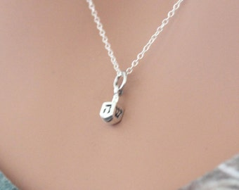 3D Hanukkah Jewish Gift NEW Tiny Dreidel Charm Necklace 925 Sterling Silver
