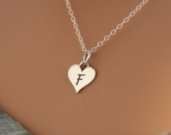 Sterling Silver F Letter Heart Necklace, Silver Tiny Stamped F Initial Heart Necklace, Stamped F Letter Charm Necklace, F Initial Necklace