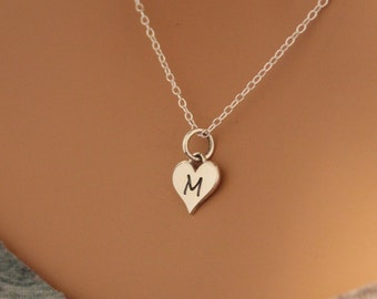 Sterling Silver M Letter Heart Necklace, Silver Tiny Stamped M Initial Heart Necklace, Stamped M Letter Charm Necklace, M Initial Necklace