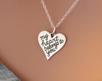 Sterling Silver My Heart Belongs to You Pendant Necklace, My Heart Belongs to You Necklace, My Heart Belongs to You Saying Necklace