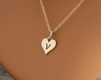 Sterling Silver V Letter Heart Necklace, Silver Tiny Stamped V Initial Heart Necklace, Stamped V Letter Charm Necklace, V Initial Necklace