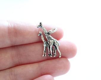 Sterling Silver Giraffe and Calf Charm, Giraffe and Calf Pendant, Giraffe Pendant, Silver Giraffe Charm, Mom and Baby Giraffe Charm