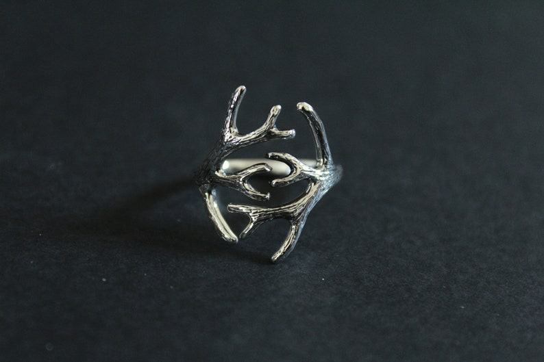 Adjustable Antler Ring Silver Deer Antler Ring Silver Adjustable Antler Ring Sterling Silver Adjustable Antler Ring Deer Antler Ring