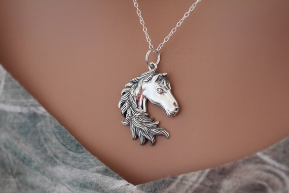 HORSE /& WESTERN JEWELLERY JEWELRY 925 STERLING SILVER REARING  HORSE NECKLACE