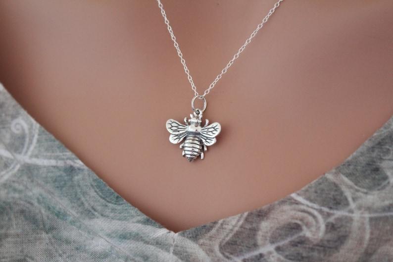 Honeybee Pendant Necklace Realistic Bee Charm Necklace Sterling Silver Bumble Bee Pendant Necklace Bee Necklace Bee Necklace