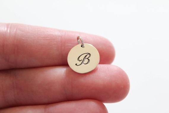 Letter B Charm Letter B Pendant Large B Letter Charm Cursive B Initial Pendant B Charm Sterling Silver Cursive Circular B Initial Charm