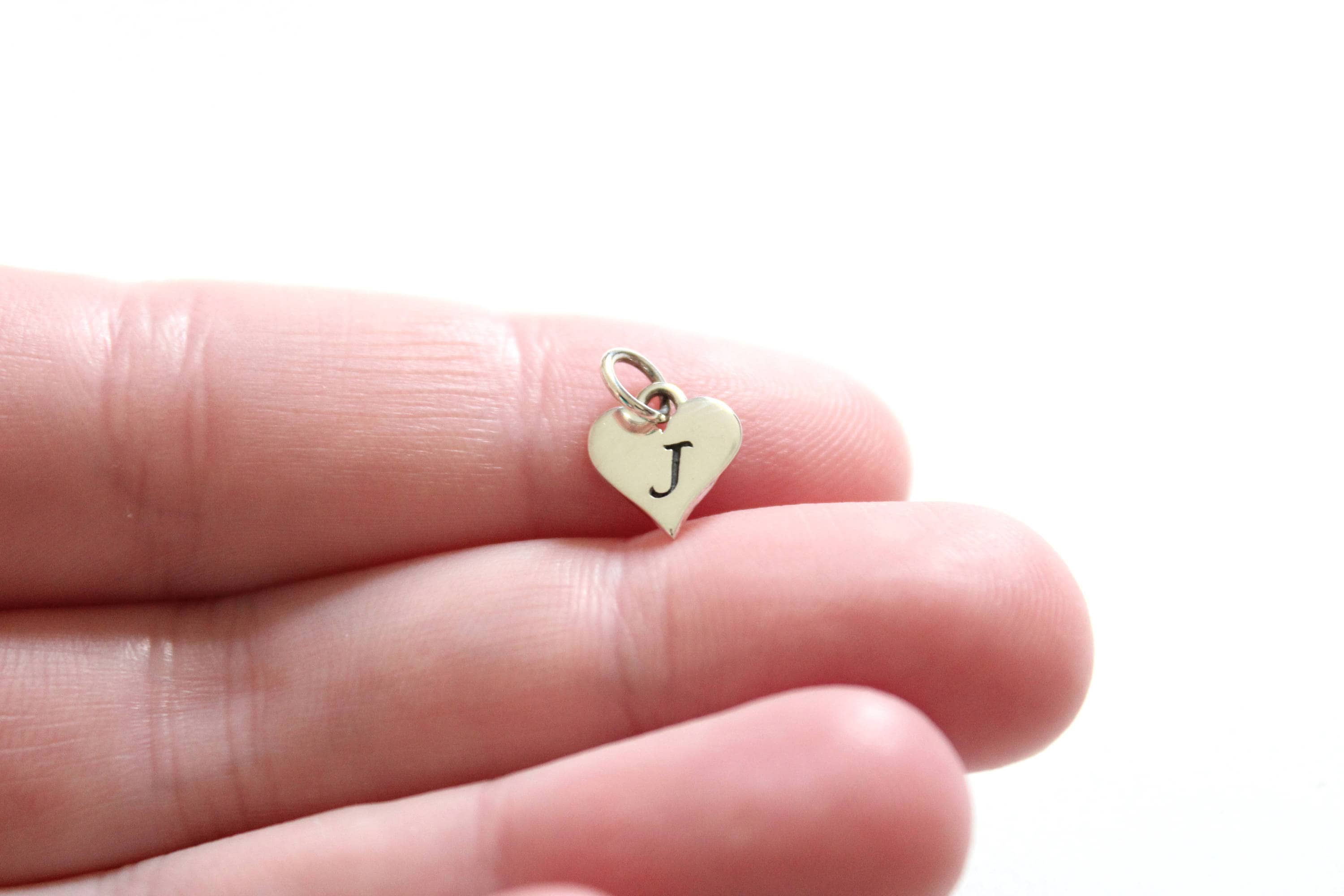 Sterling Silver J Letter Heart Charm Silver Tiny Stamped J   Etsy