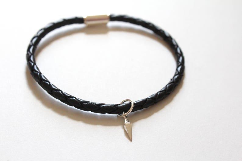 Geometric Bracelet Spike Dangle Leather Bracelet with Sterling Silver Spike Dangle Charm Spike Dangle Bracelet Geometric Charm Bracelet