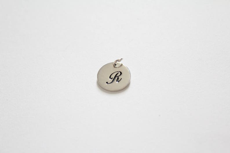 Letter R Charm Cursive R Initial Pendant Letter R Pendant R Charm Large R Letter Charm Sterling Silver Cursive Circular R Initial Charm