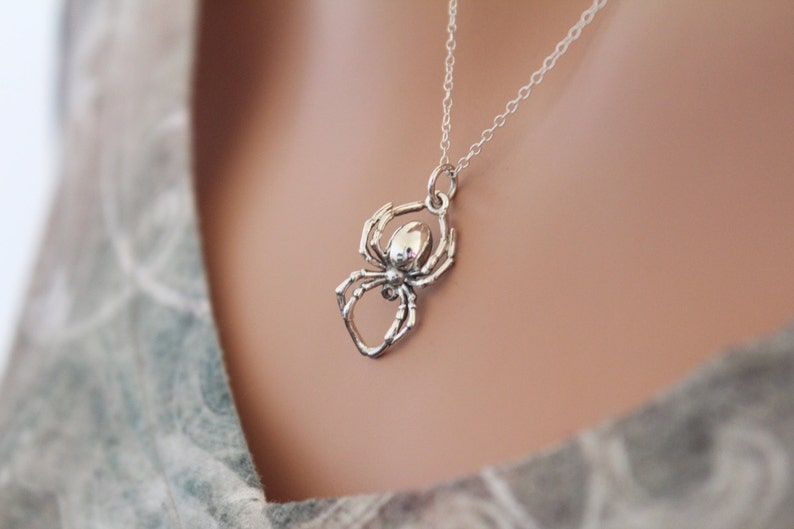 Sterling Silver Realistic Spider Pendant Necklace Silver Spider Necklace Spider Necklace 3D Spider Necklace Spider Pendant Necklace