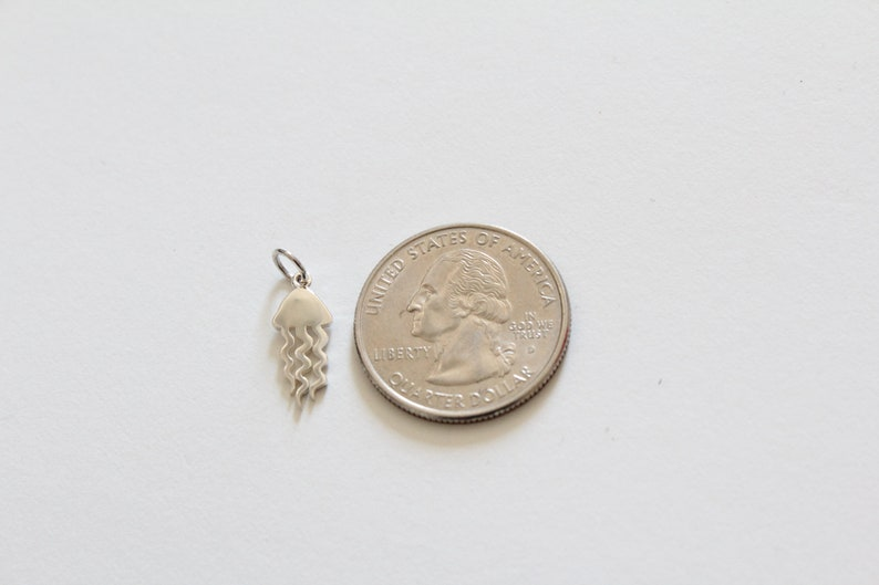 Sterling Silver Flat Jellyfish Charm Silver Flat Jellyfish Charm Flat Jellyfish Pendant Silver Jellyfish Pendant Jellyfish Charm